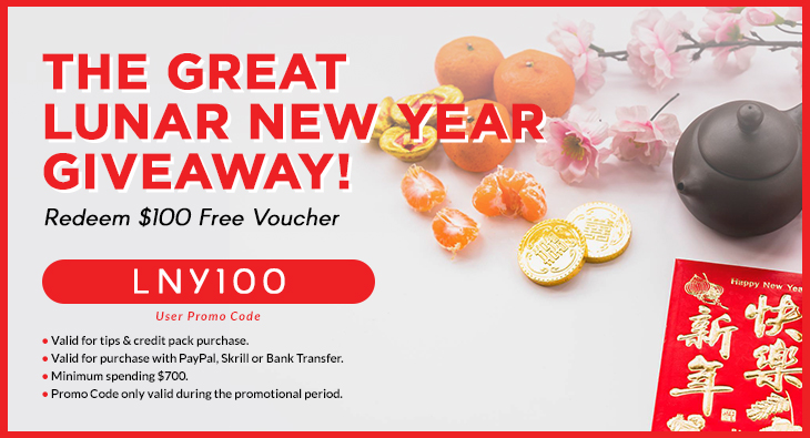 The Great Lunar New Year Giveaway! Redeem $100 Free Voucher